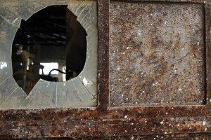 Rusty Door Smashed Glass