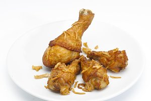Fried Chicken Isolated on A White Background.
