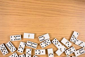 pieces of domino on wood