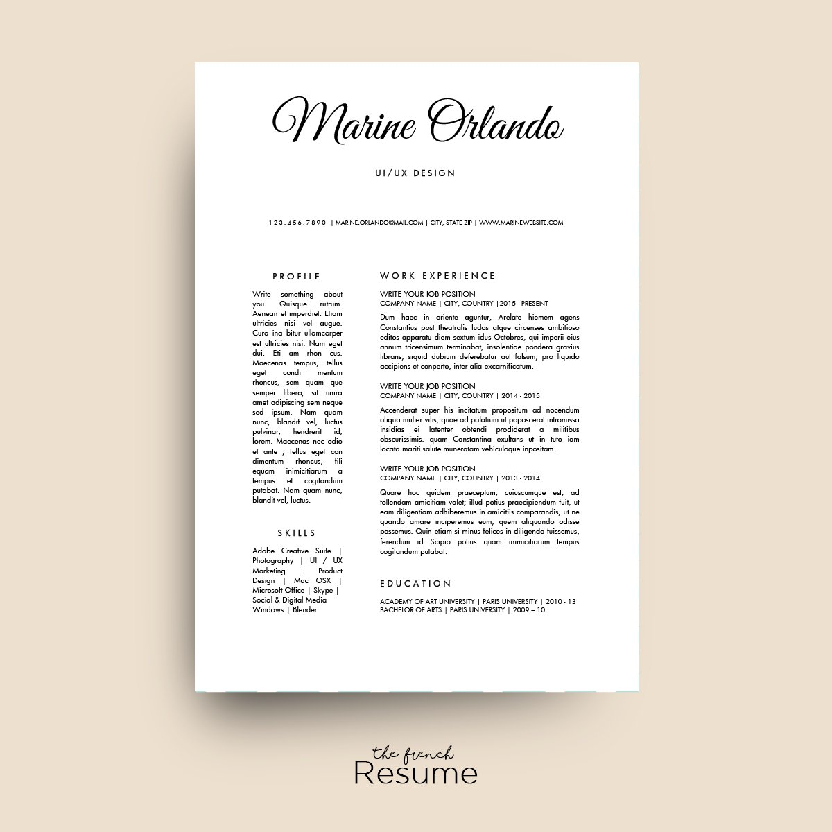 Writer Resume Simple Resume Template Ms Word  Resume Templates  Creative Market Languages On Resume Word with Ms Word Resume Templates Excel  Skills On A Resume Example Pdf