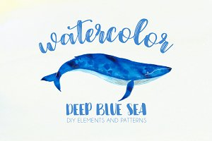 Watercolor Deep Blue Sea