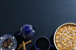 Blue bohemian tea service with pie