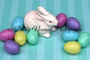 Bunny with Colorful Eggs