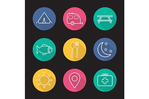 Camping and tourism. 9 icons. Vector