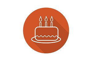 Birthday cake icon. Vector