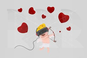 Cupid with virtual reality set