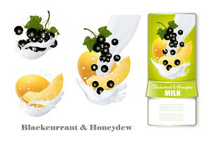 Blackcurrant and honeydew in milk