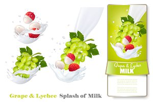 Grapes and lychee in milk splashes