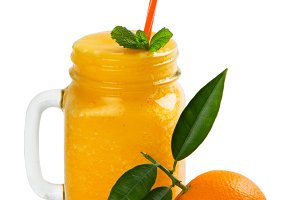 Orange fruit and smoothie.