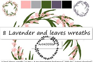 8 Lavender and leaves wreaths