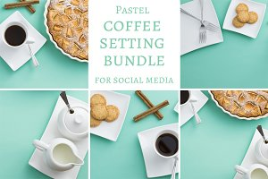 Pastel coffee service photo bundle