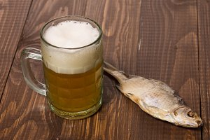 One fish with frothy beer