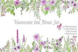 Watercolor Ink Floral Love Design