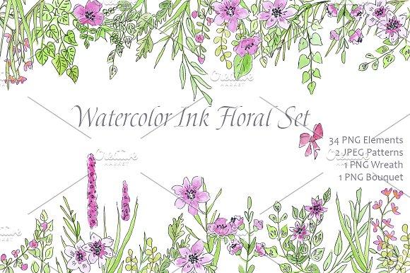 Watercolor Ink Floral Love Design