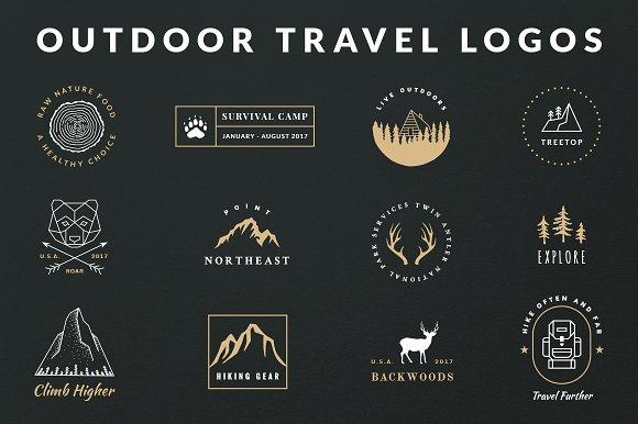 vintage outdoor travel logos logo templates creative market