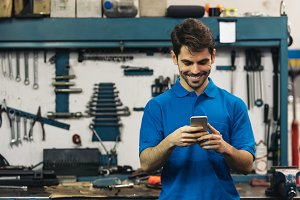 Portrait of Car Mechanic Man.