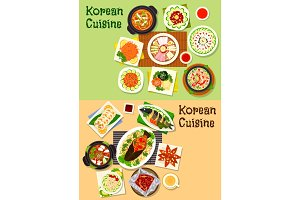 Korean and asian cuisine popular dishes icon set