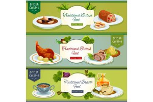 British cuisine national dishes banner set design