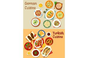 German and turkish cuisine icon for menu design