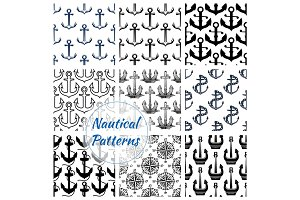 Anchor and compasses nautical seamless pattern set