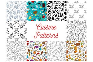Cuisine, kitchen utensils, chef hat patterns set