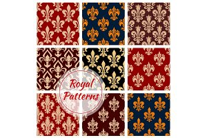 Royal vector seamless patterns set