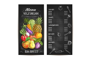 Vegetarian menu of vegetables, fruits, chalk price