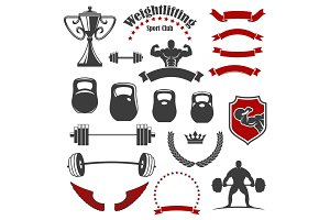 Weightlifting sport club isolated icons for emblem