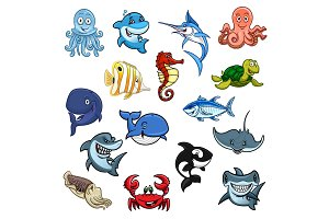 Sea and ocean animals, fish cartoon icons