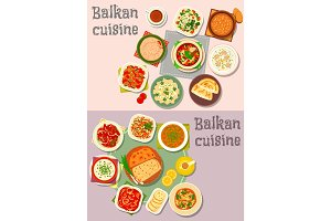 Balkan cuisine dinner dishes with pies icon set