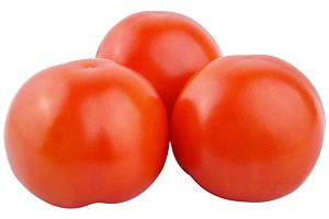 Closeup tomatoes isolated on white