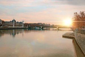 Rhone river at sunset Lyon France