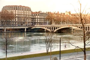 Bridge Wilson in winter Lyon France