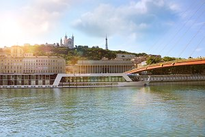 Saone river and Fourviere hill Lyon