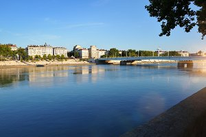 Rhone river in summer blue day Lyon