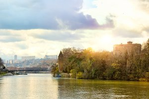 Saone River and Barbe Island in Lyon