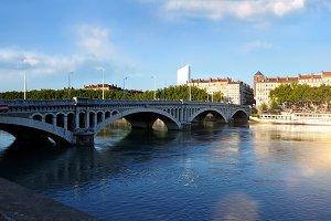 Bridge Wilson on river Rhone in Lyon