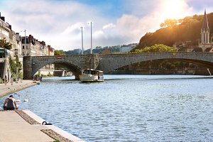 Saone river at sunset Lyon France