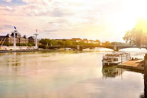 View Rhone river at sunset Lyon