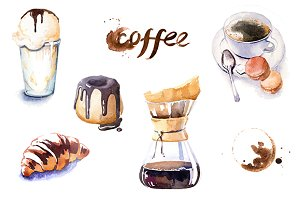 Watercolor coffe time clipart set