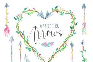 Watercolor Arrows and Wreath Set