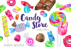 Watercolor Candy Shop Clipart