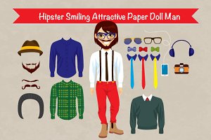 Hipster Smiling Paper Doll Man