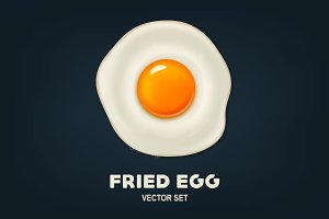Fried egg. Vector set.