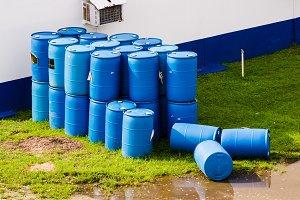Blue plastic barrels