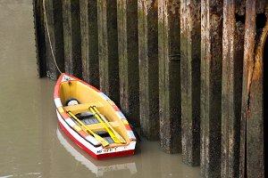 Row boat tied up