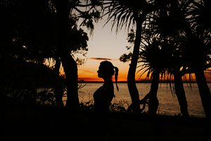 Sunset Silhouette of Beautiful Woman