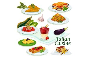 Italian cuisine traditional food cartoon icon