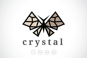 Crystal Butterfly Logo Template