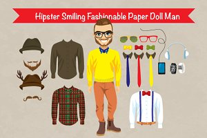 Hipster Paper Doll Man Fashion